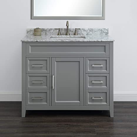Amazon Com Palmer 42 Gray Bathroom Vanity With Carrara Marble By Mission Hills Furniture Kitchen Dining