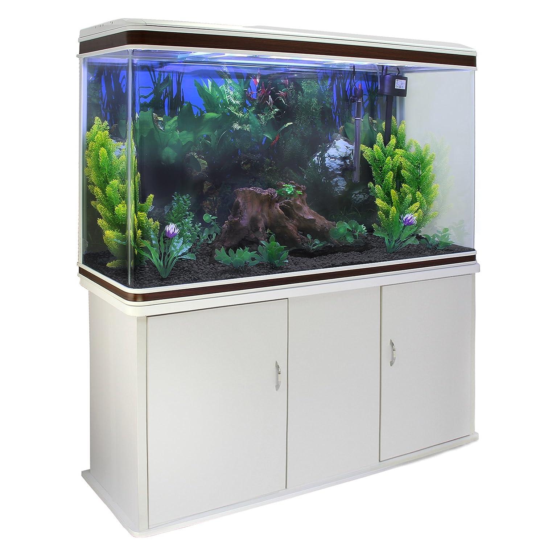 MonsterShop - Acuario 300 litros con Mueble Blanco y Grava Negra 143cm x 120cm x 39cm: Amazon.es: Hogar
