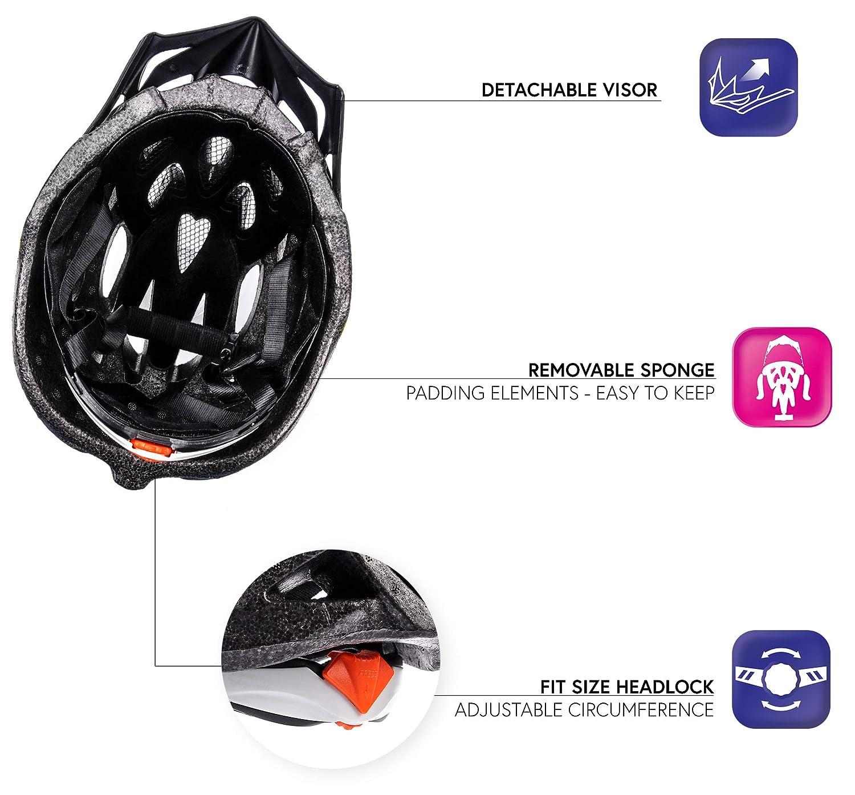 meteor® Casco Bicicleta Helmet de Bici para jóvenes y Adultos para Ciclismo MTB Road Race Montaña BMX Carretera y Otras Formas de Actividad Ciclista Casco ...