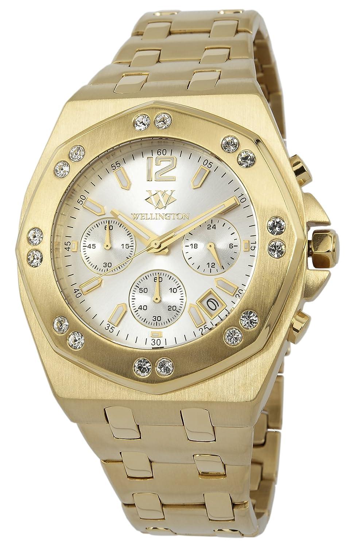 Wellington Darfield WN511-219 - Reloj analógico de Cuarzo para Hombre, Correa de Acero Inoxidable Chapado Color Dorado (cronómetro)