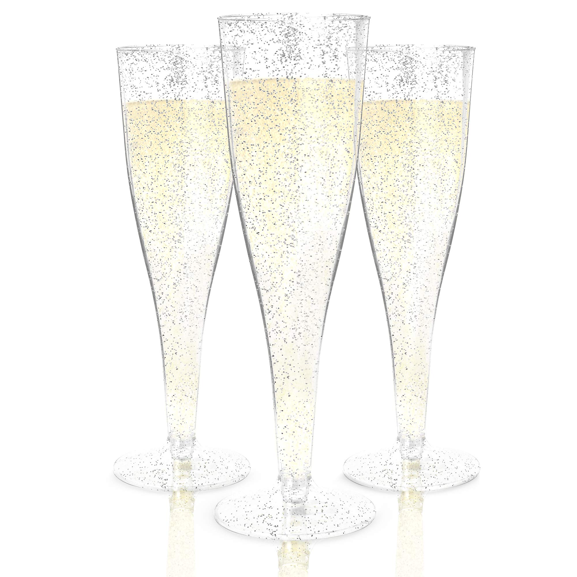 Plastic Champagne Flutes Disposable - 100 Pack   Silver Glitter Plastic Champagne Glasses for Parties   Glitter Clear Plastic Cups   Plastic Toasting Glasses   Wedding Party Bulk Pack