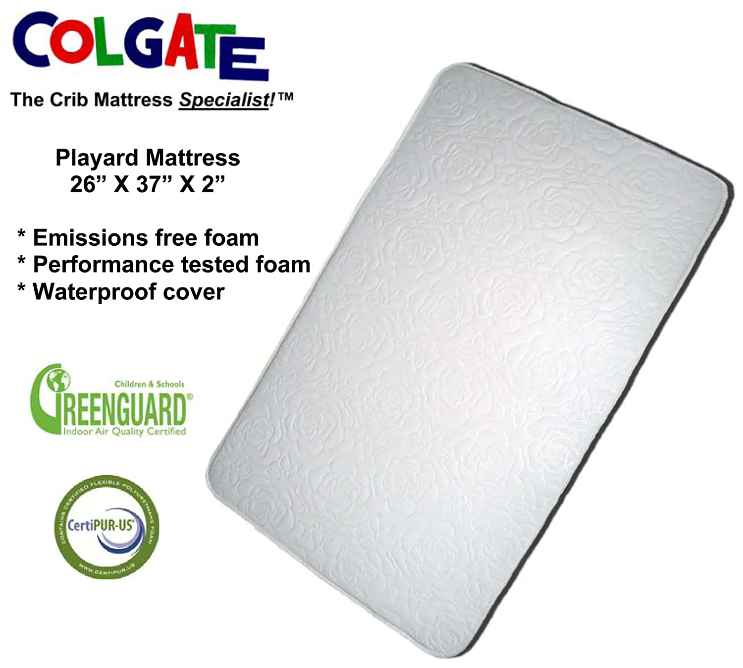 "Amazon.com : Colgate Portable Mattress - 26"" x 37"" x 2"" Rectangular Foam  Pad with Waterproof White Quilted Cover : Colgate Pack N Play Crib Mattress  : Baby"