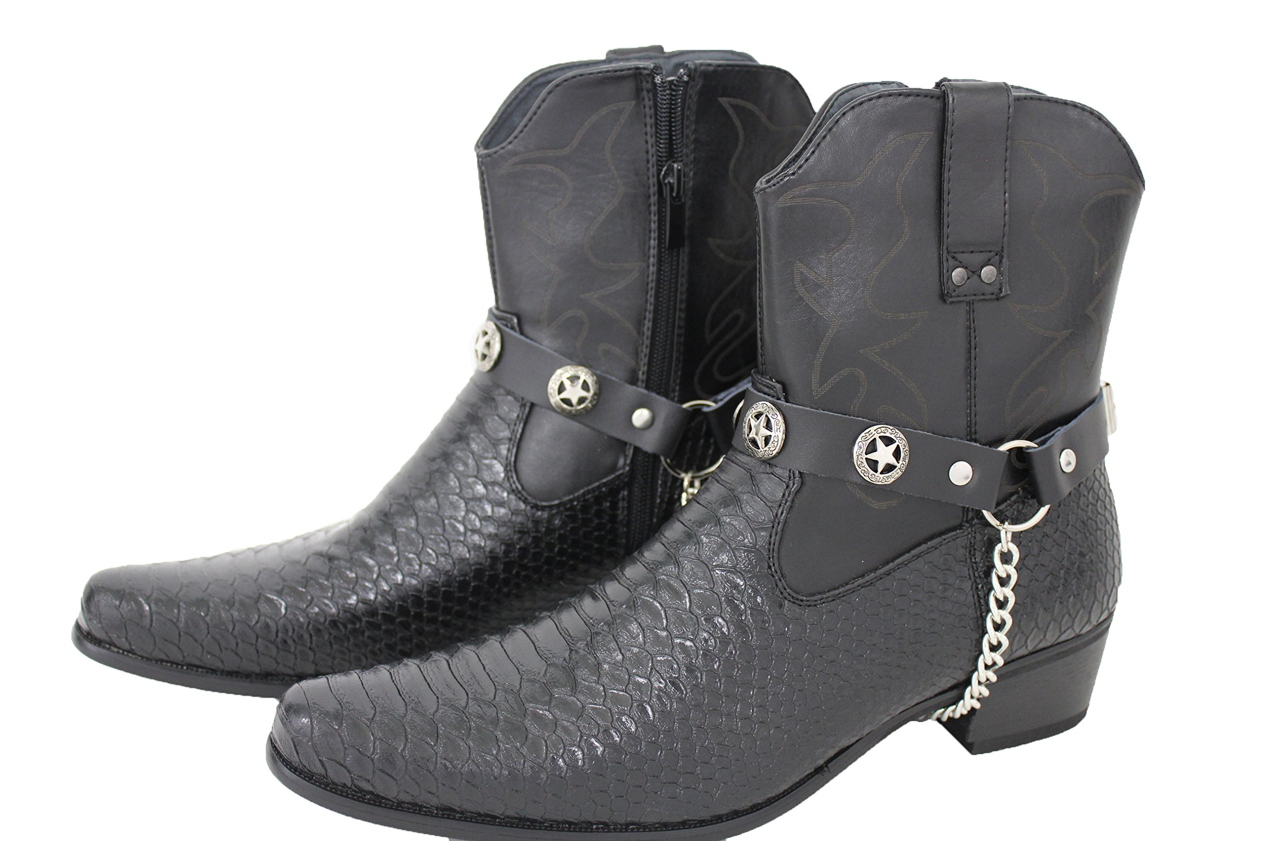 TFJ Men Boot Bracelets Black Faux Leather 2 Straps Silver Metal Chains Texas Lone Star Motorcycle Style