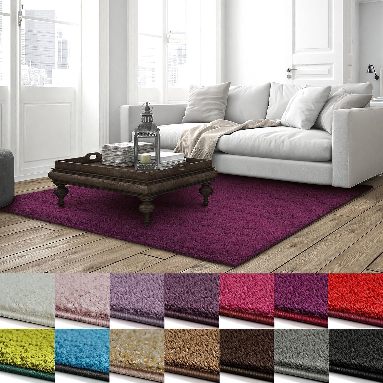 Shaggy Teppich Barcelona   weicher Hochflor Teppich für Wohnzimmer, Schlafzimmer, Kinderzimmer   GUT-Siegel + Blauer Engel Größen   160x230 cm   Berry