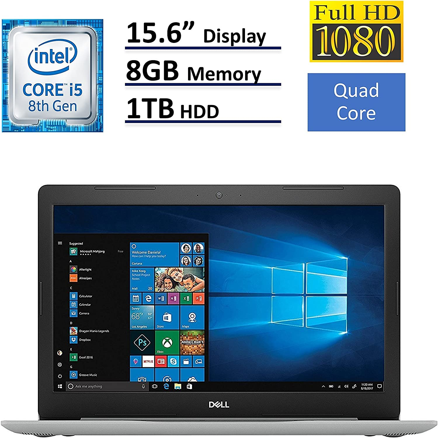2018 Dell Inspiron 15 5000 15.6 inch Full HD Touchscreen Backlit Keyboard Laptop PC, Intel Core i5-8250U Quad-Core, 8GB DDR4, 1TB HDD, DVD RW, Bluetooth 4.2, WIFI, Windows 10 (Renewed)