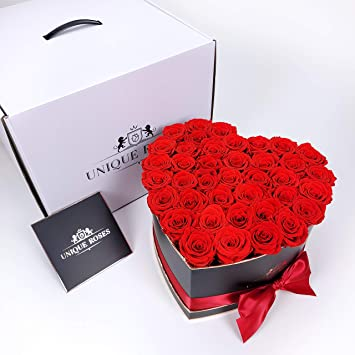 Buy Real Preserved Roses In A Heart Shaped Box Handmade Long Lasting Flowers Rose Box Luxury Gift For Her Birthday Anniversary Valentine S Day Red Online At Low Prices