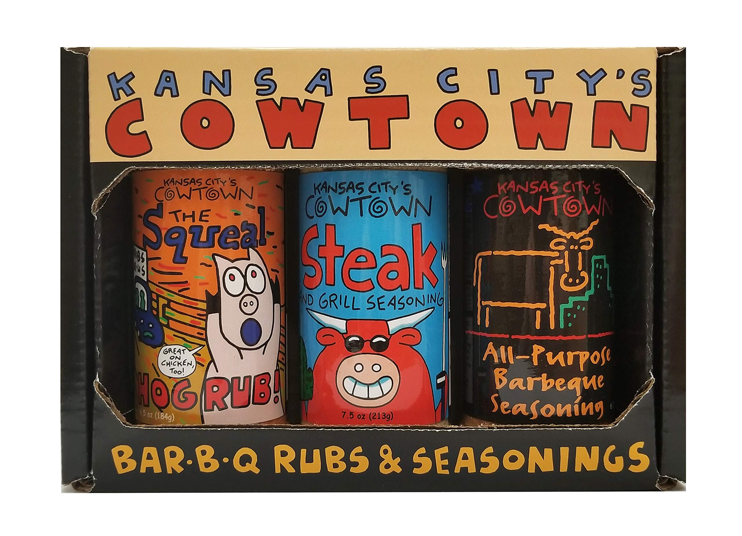 Kansas City's Cowtown BBQ Rubs and Seasonings Gift Box - The Squeal, Steak and Grill Seasoning, and All-Purpose Barbecue Seasoning