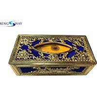 Kingsway Classic Royal/Castle Tissue Paper Napkin Holder Box for Cars, Offices & Homes (Blue-Golden Color, Velvet, Free Tissue Papers Inside)