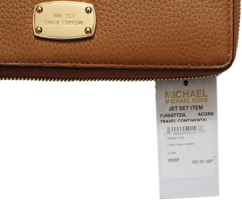 Michael Kor Jet Set Travel Continental Zip Around Wallet Wristlet Acorn Leather
