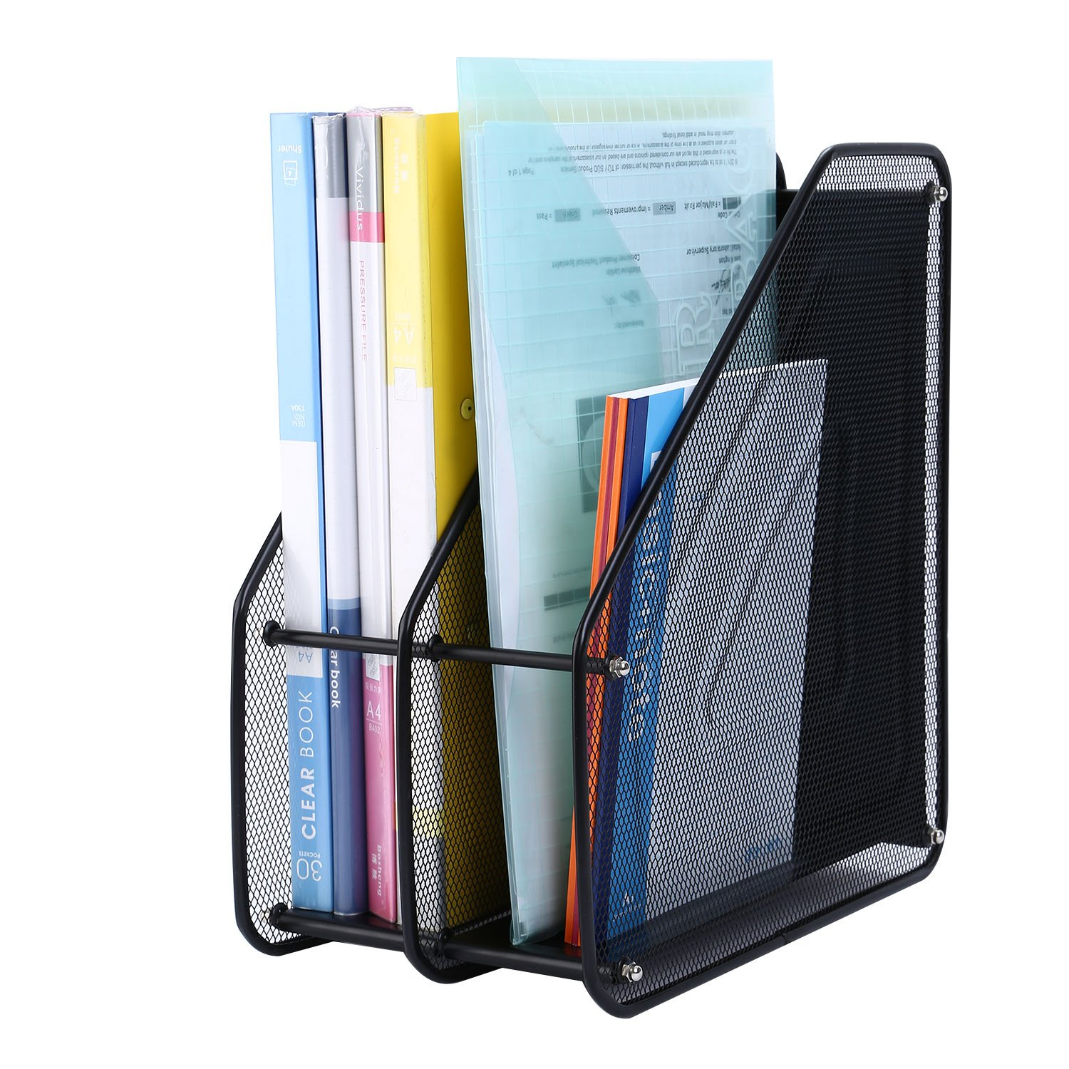 CRUODA Desktop Documents Organizer, 2 Compartment File Rack - Black Mesh Metal Office Desk Shelf, for Documents, Magazines, Notebooks