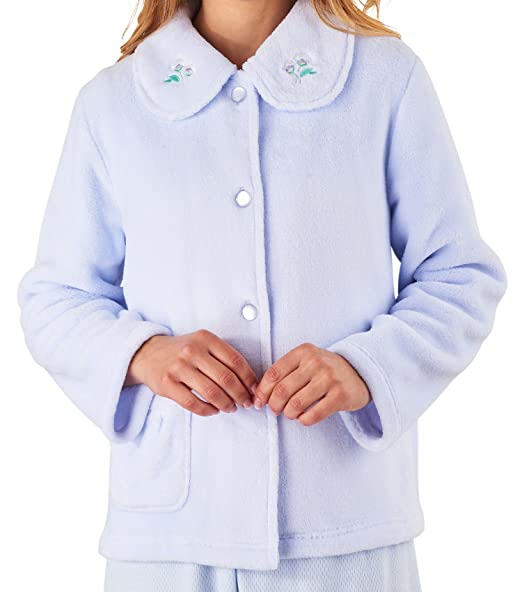 Slenderella Ladies Bed Jacket Floral Embroidered Collar Coral Fleece Button  Up Housecoat Small (Blue) 5a1481821
