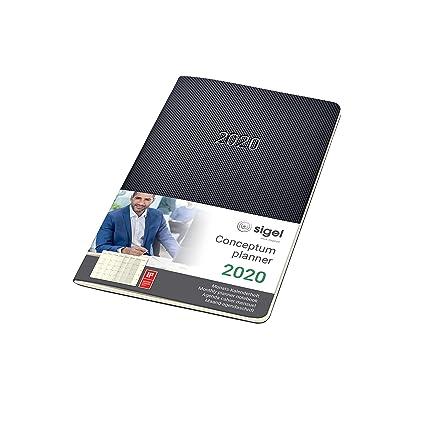 SIGEL C2084 Agenda Cuaderno-calendario mensual 2020, Conceptum, tapa blanda, 13,5 x 21 cm, negro