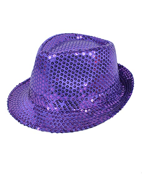 Colorful Sequined Fedora Hat (Purple) at Amazon Men s Clothing store  c80d5890556