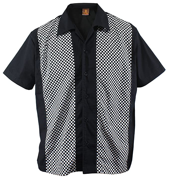 Rockabilly Camisa Beachwear CuadrosColor Ska Cuadros Check De Camiseta Bolos Hombre Aloha Negro Para RLAjq354