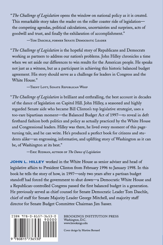 The challenge of legislation bipartisanship in a partisan world the challenge of legislation bipartisanship in a partisan world john l hilley 9780815736530 amazon books platinumwayz