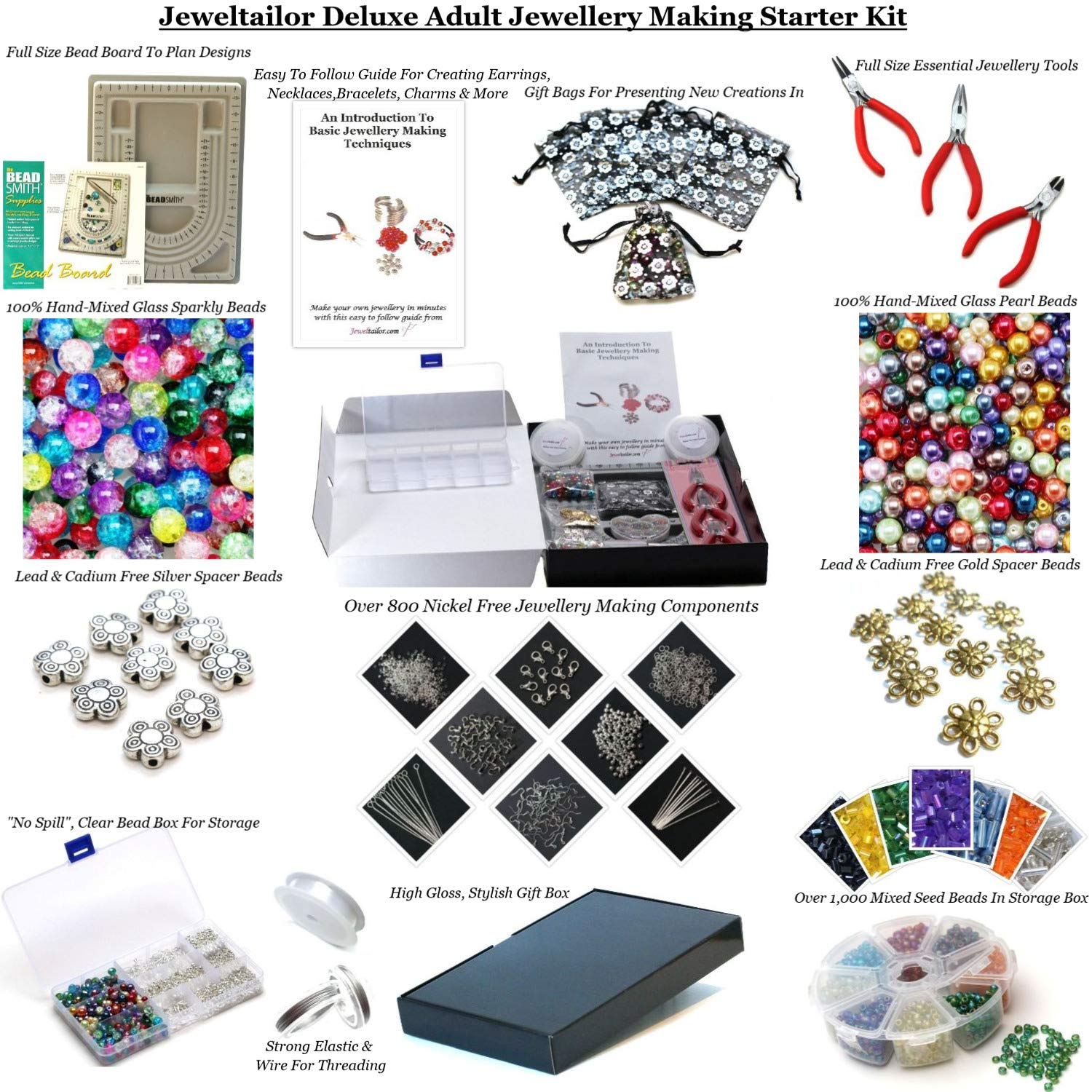 Jewellery Making Kits Beading & Jewellery Kits Large Jewellery Making Starter Kit 800 Beads Tools Findings Storage Box