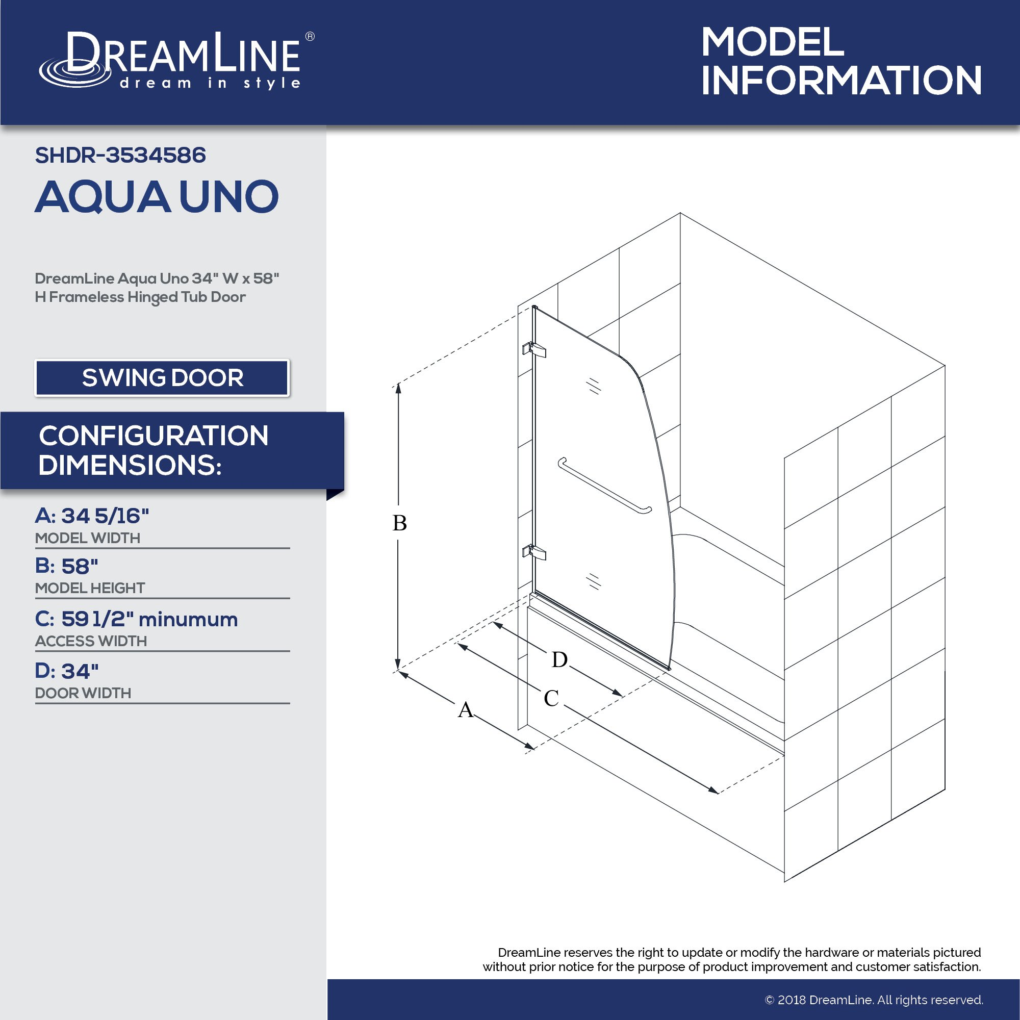 DreamLine Aqua Uno 34 in. Width, Frameless Hinged Tub Door, 1/4'' Glass, Chrome Finish by DreamLine (Image #5)