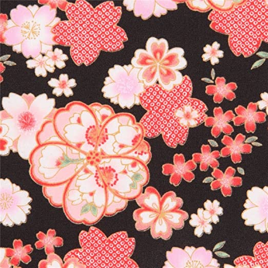 Tela amunzen crepé algodón japonés Asia negro con flores Japón: Amazon.es: Hogar