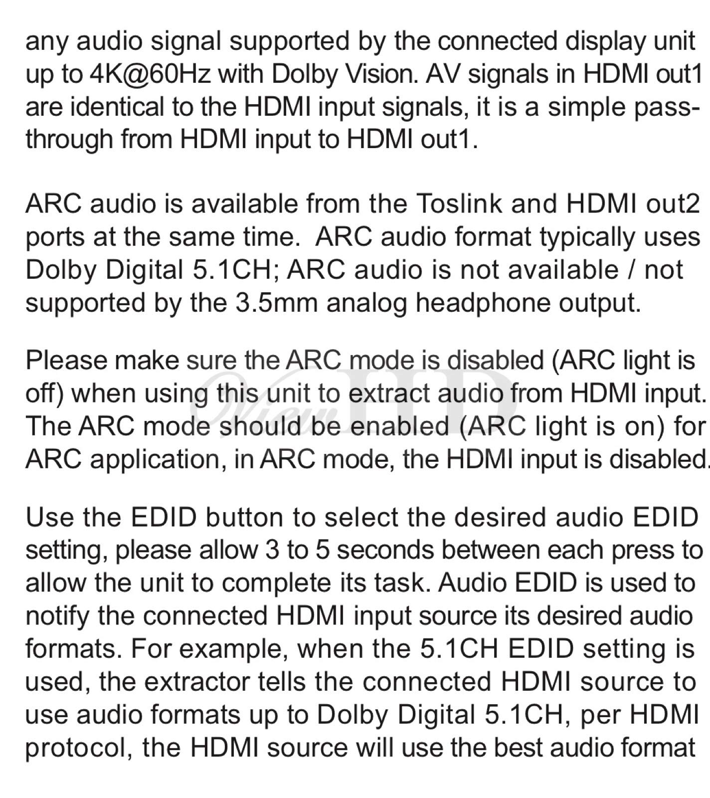 ViewHD UHD 18G HDMI Audio Extractor/Splitter Support HDMI v2.0 | HDCP v2.2 | 4K@60Hz | HDR | ARC | 3.5MM Analog Audio Output | Toslink Optical Audio Output | HDMI Audio Output | Model: VHD-UHAE2 by ViewHD (Image #5)