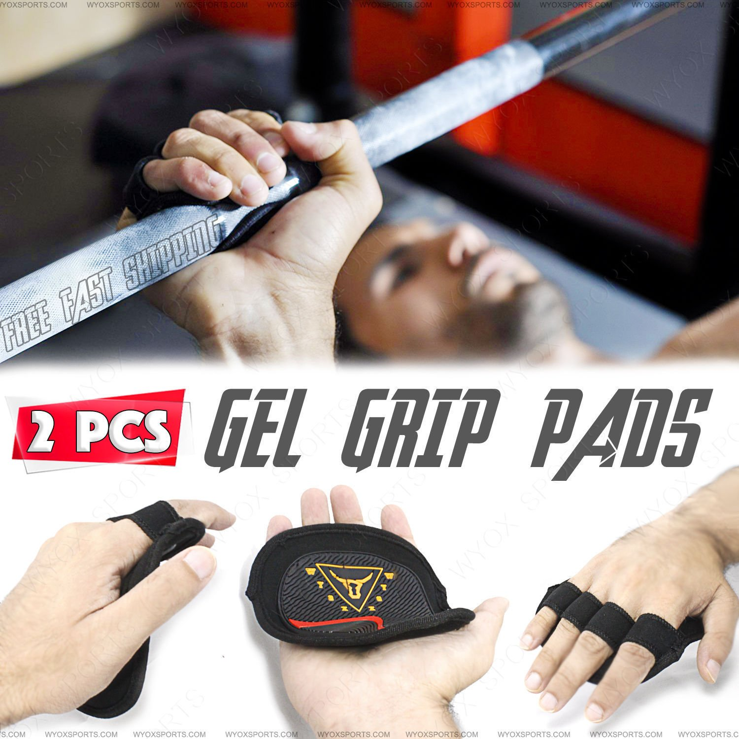 Exercise \u0026 Fitness Accessories Wyox Cross Training Gloves Xtreme Rubber Lifting Grip Pads Weight ...