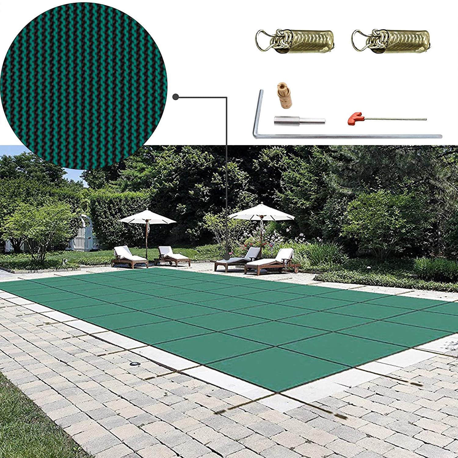 Happybuy Pool Safety Cover 14x26ft Rectangle Inground Safety Pool Cover  Green Mesh Solid Pool Safety Cover for Swimming Pool Winter Safety Cover