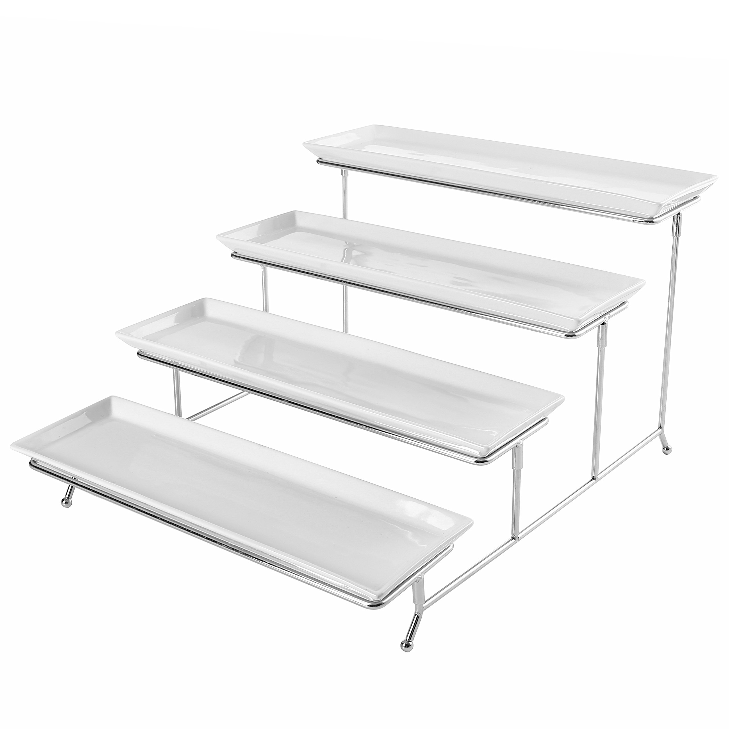 4 Tier White Ceramic Party Serving Platter / Food Display Trays on Chrome Plated Metal Stand