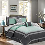 6 Piece Queen Size Bedding Comforter Set, Hotel Style Gray Blue Striped