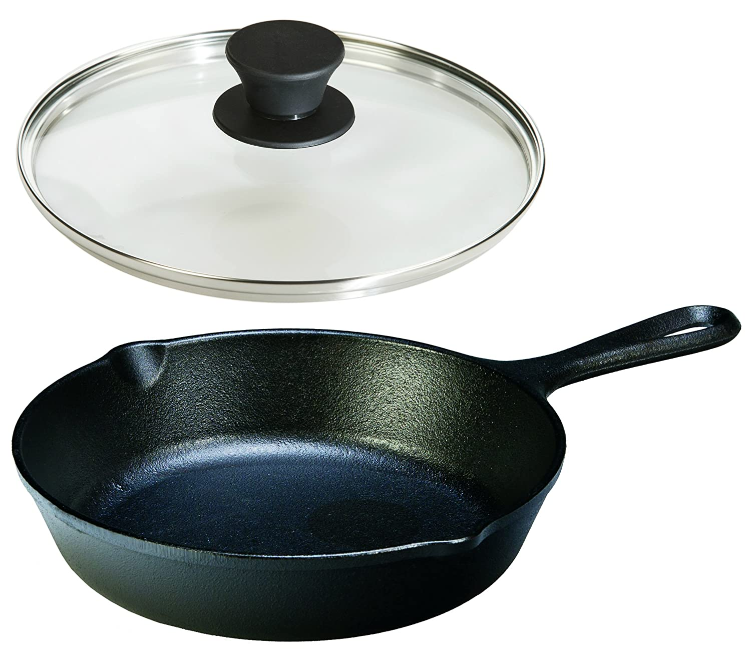 Lodge Seasoned Cast Iron Skillet with Tempered Glass Lid (8 Inch) - Cast Iron Frying Pan with Lid Set