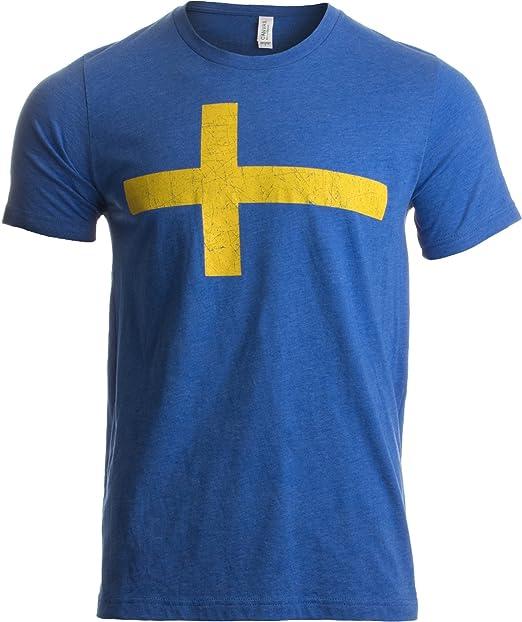 Ann Arbor T-shirt Company Camiseta Retro Unisex para Hombre - Motivo con la Bandera de Suecia tre Kronor -: Amazon.es: Ropa y accesorios
