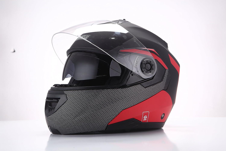 talla XL Negro//Rojo Mate Sparco Riders Casco Moto Modular