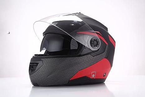 Sparco Riders Casco Moto Modular, Negro/Rojo Mate, talla XS