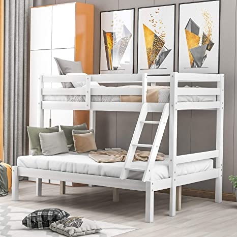 Amazon Com Solid Wood Mission Twin Over Full Bunk Bed By Danxee Solid Wood Bunk Loft Bed Frame With Guardrail And Removable Ladder Can Be Separated Into 2 Beds White Kitchen Dining