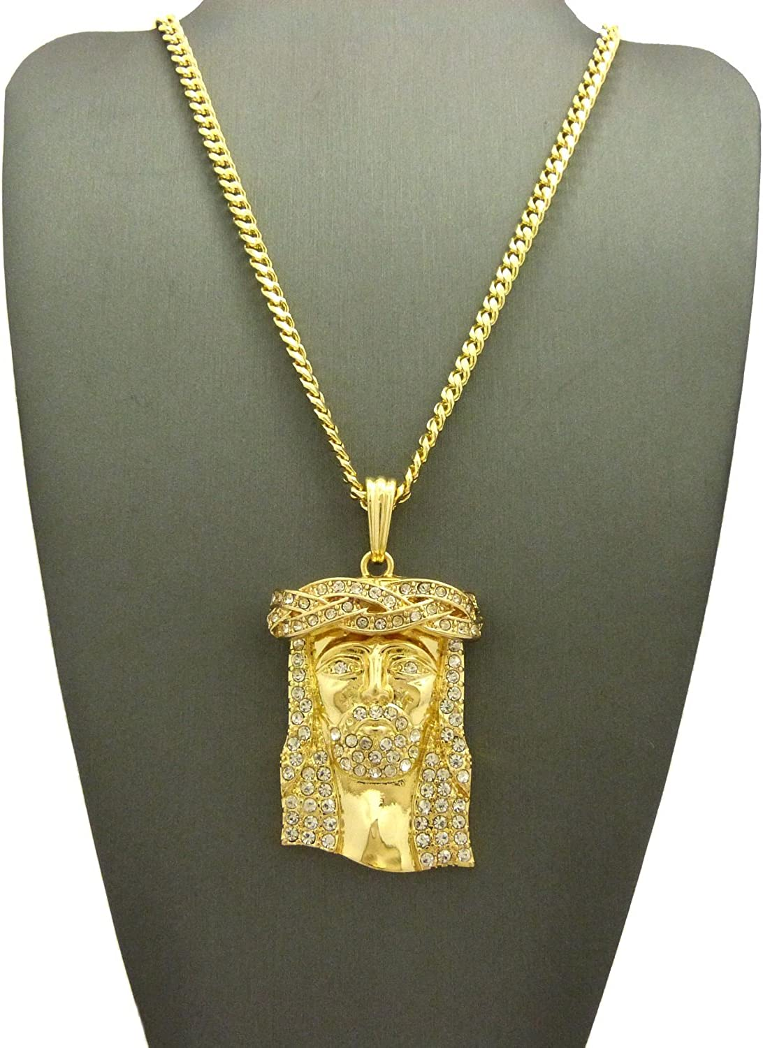 NYFASHION101 Stone Stud Jesus Face Straight Cut Edge Pendant with Gold-Tone Necklace