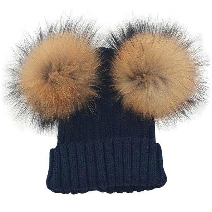 BrillaBenny Cappello Cuffia Bianco Doppio PON PON in Pelliccia MURMASKY 1-3 Anni Bimba Cappellino Lana Hat White Fur Raccoon Baby Kids Double Pom Poms Luxury