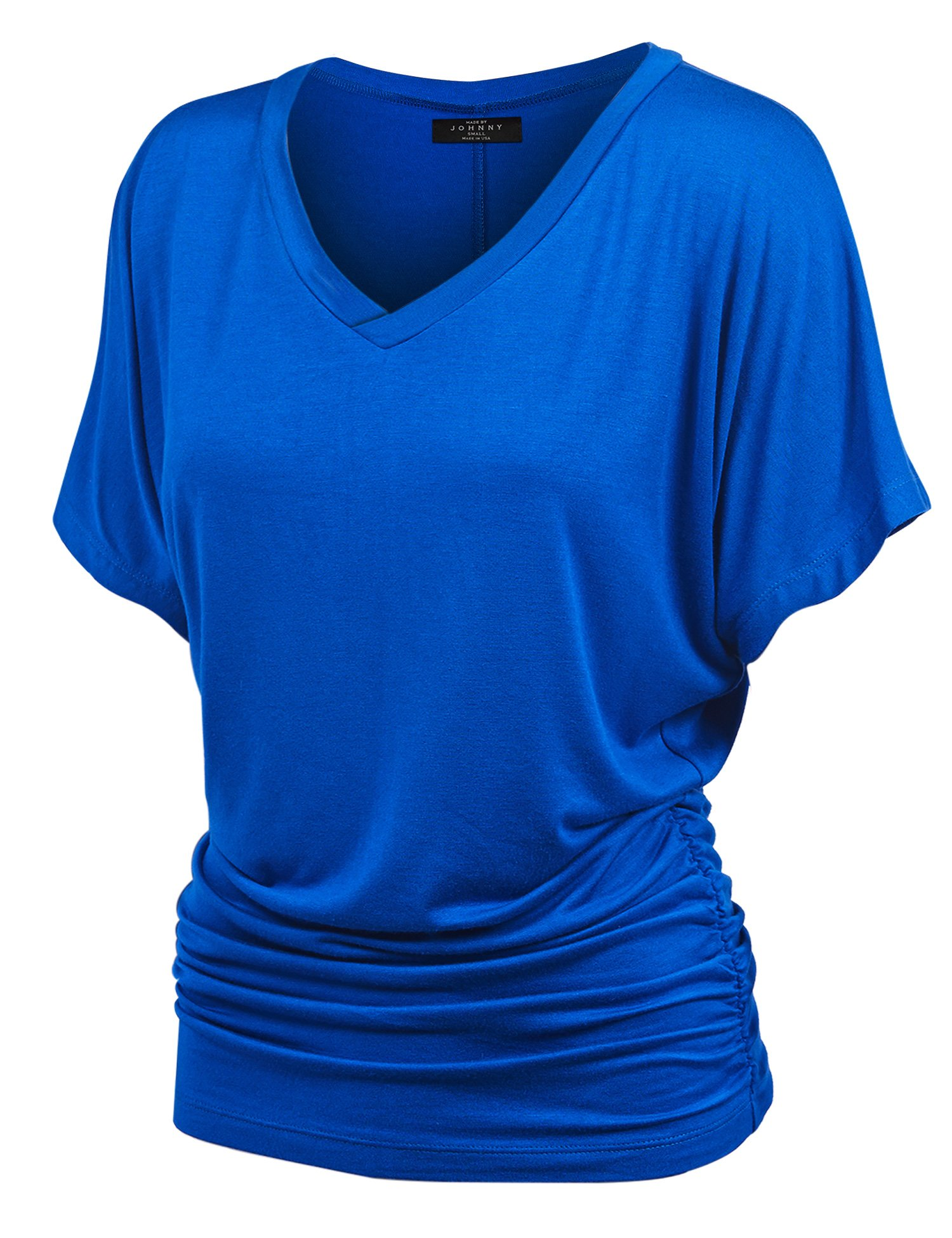 WT1037 Womens V Neck Short Sleeve Dolman Top with Side Shirring XXL Royal_Brite