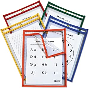 CLI42620 - C-Line Products Super Heavyweight Plus Dry Erase Pockets, Assorted Primary Colors, 9 x 12, 25/BX