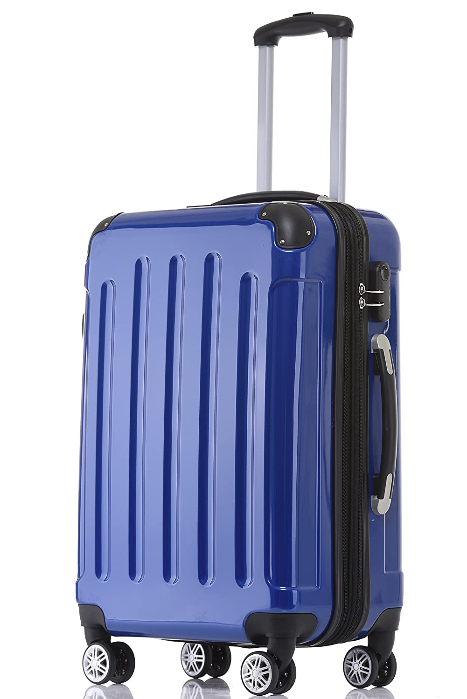 BEIBYE Zwillingsrollen 2048 Hartschale Trolley Koffer Reisekoffer in M-L-XL-Set in 17 Farben (Blau, L)