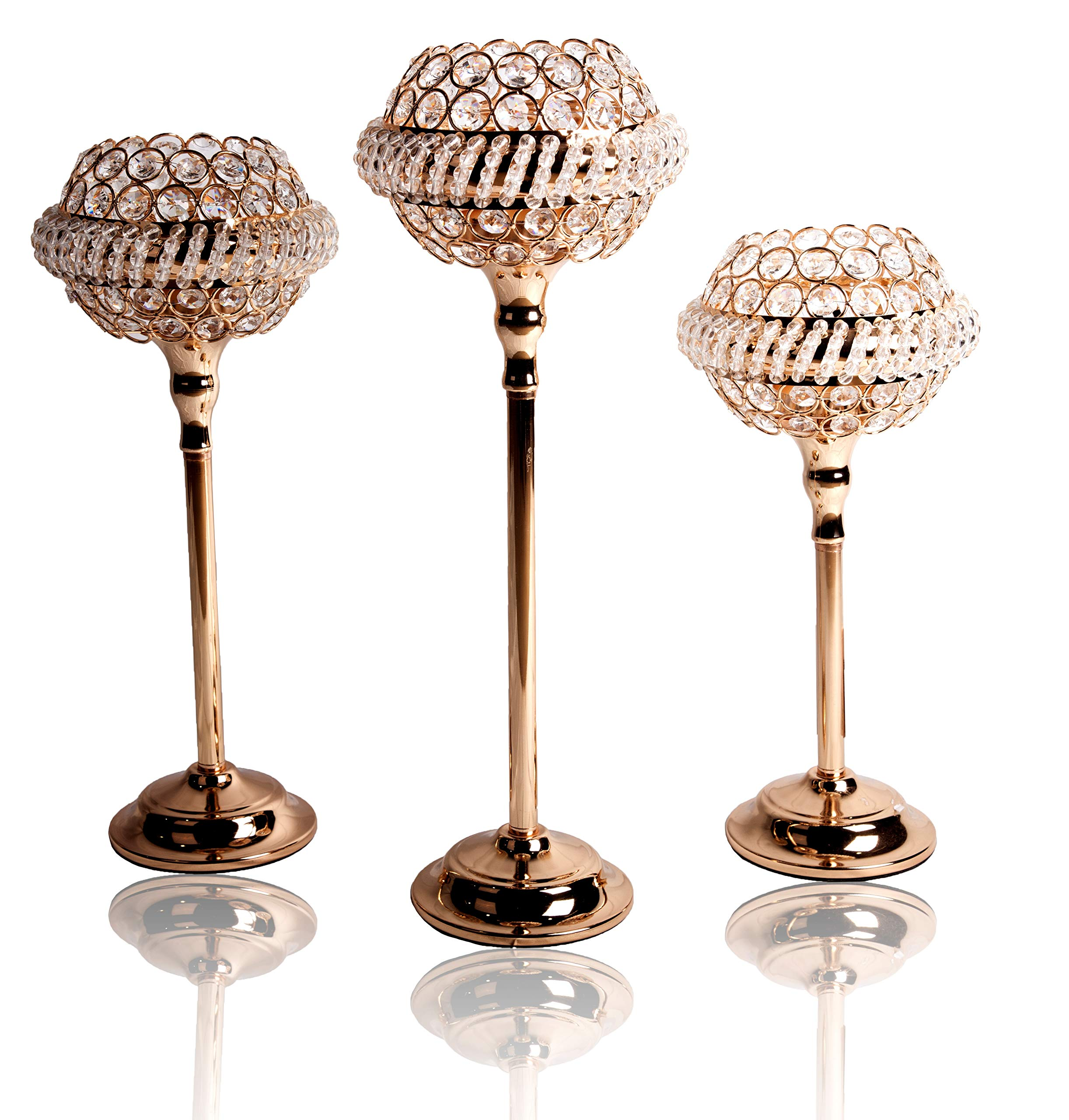 Prime Celebration Crystal Beaded Candle Holder Stand 3 Pieces Set 18 in H x 6 in W, 16 in H x 6 in W, 14 in H x 6 in W - Gold