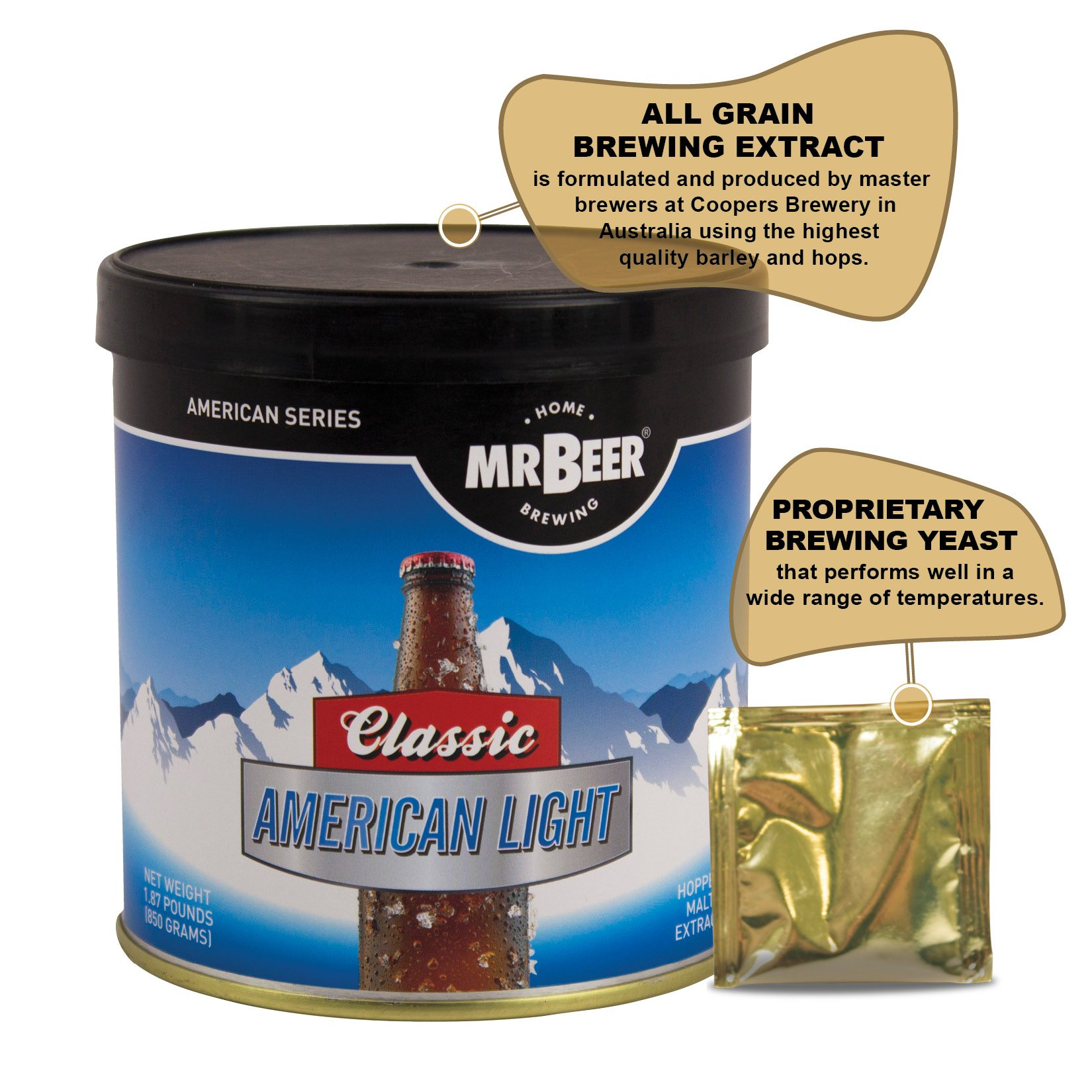 Mr. Beer Classic American Light 2 Gallon Homebrewing Craft Beer Making Refill Kit with Sanitizer, Yeast and All Grain Brewing Extract by Mr. Beer (Image #6)