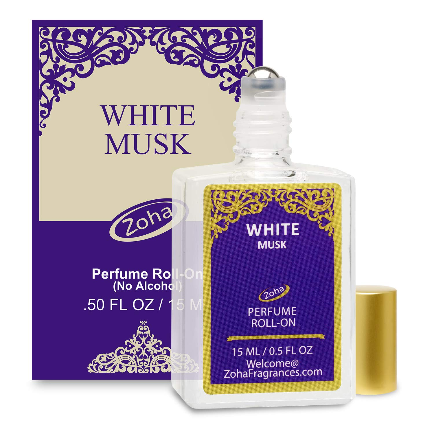 White Musk Perfume Oil Roll-On (No Alcohol) - Essential Oils and Clean Beauty Perfumes for Women and Men by Zoha Fragrances, 15 ml / 0.50 fl Oz