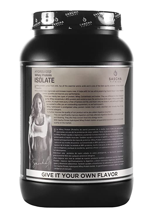 Amazon.com: Sascha Fitness Hydrolyzed Whey Protein Isolate,100% Grass-Fed (2 Pounds, Unflavor)): Health & Personal Care