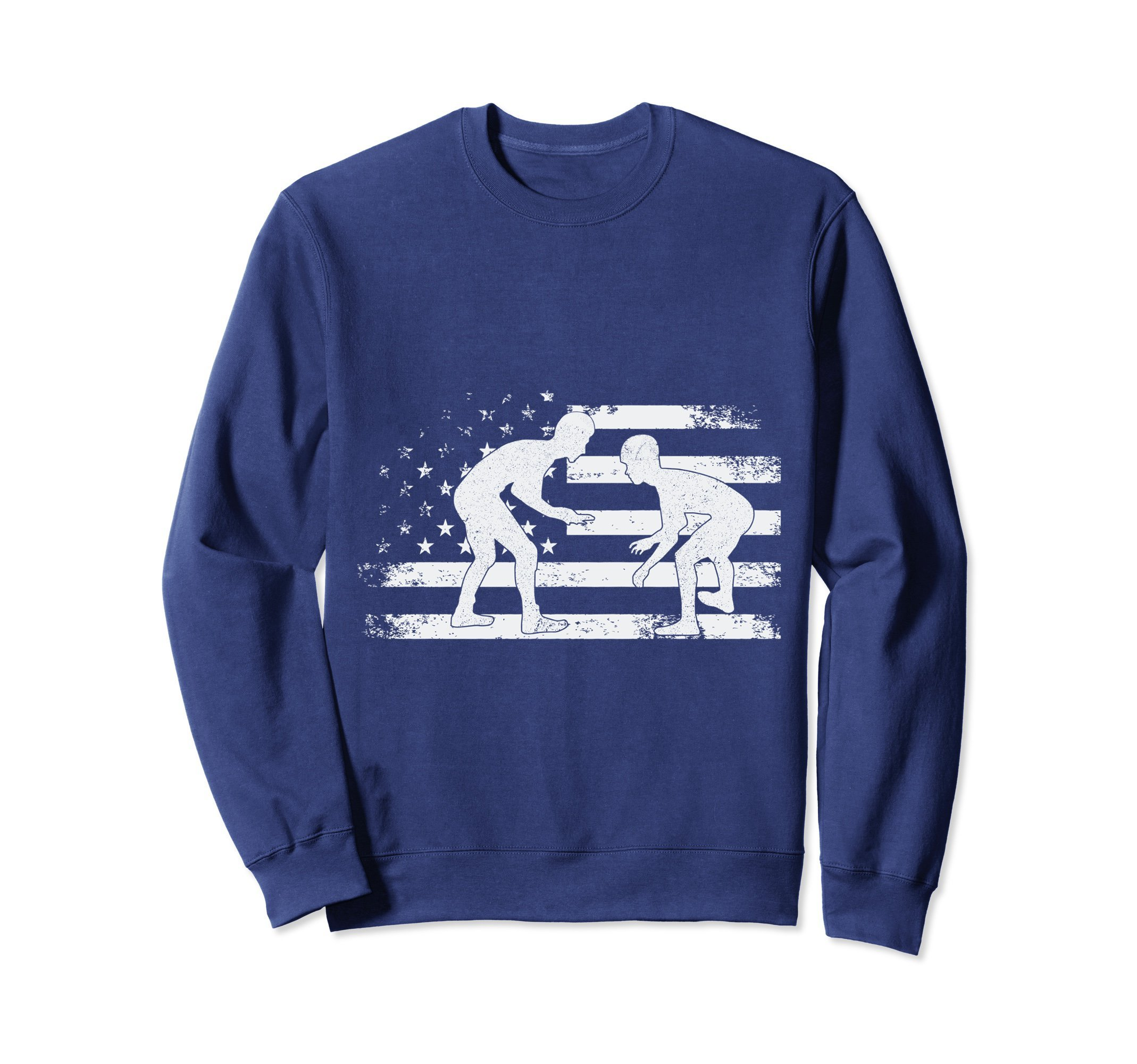 Unisex American Flag Wrestling Sweatshirt Wrestler Sweater Gift XL: Navy by American Wrestling Gift Pullover