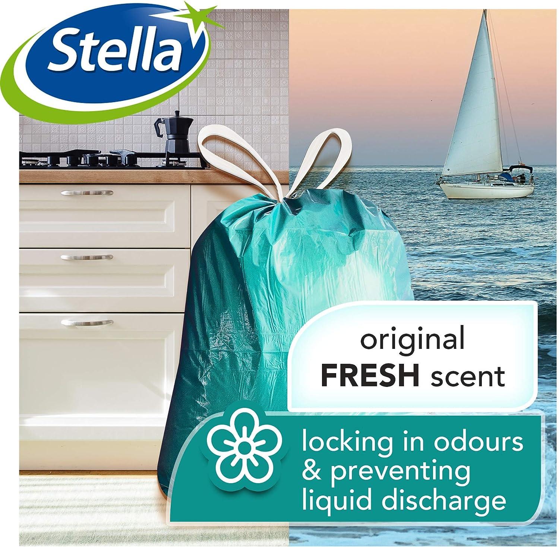 Wellenverschluss Farbe Wei/ß Ultra-Starke und Flexible M/ülls/äcke M/üllt/üten aus Kunststoffabf/ällen Umweltfreundlich und recycelbar 20 L Stella Bio M/üllbeutel 120 St/ück