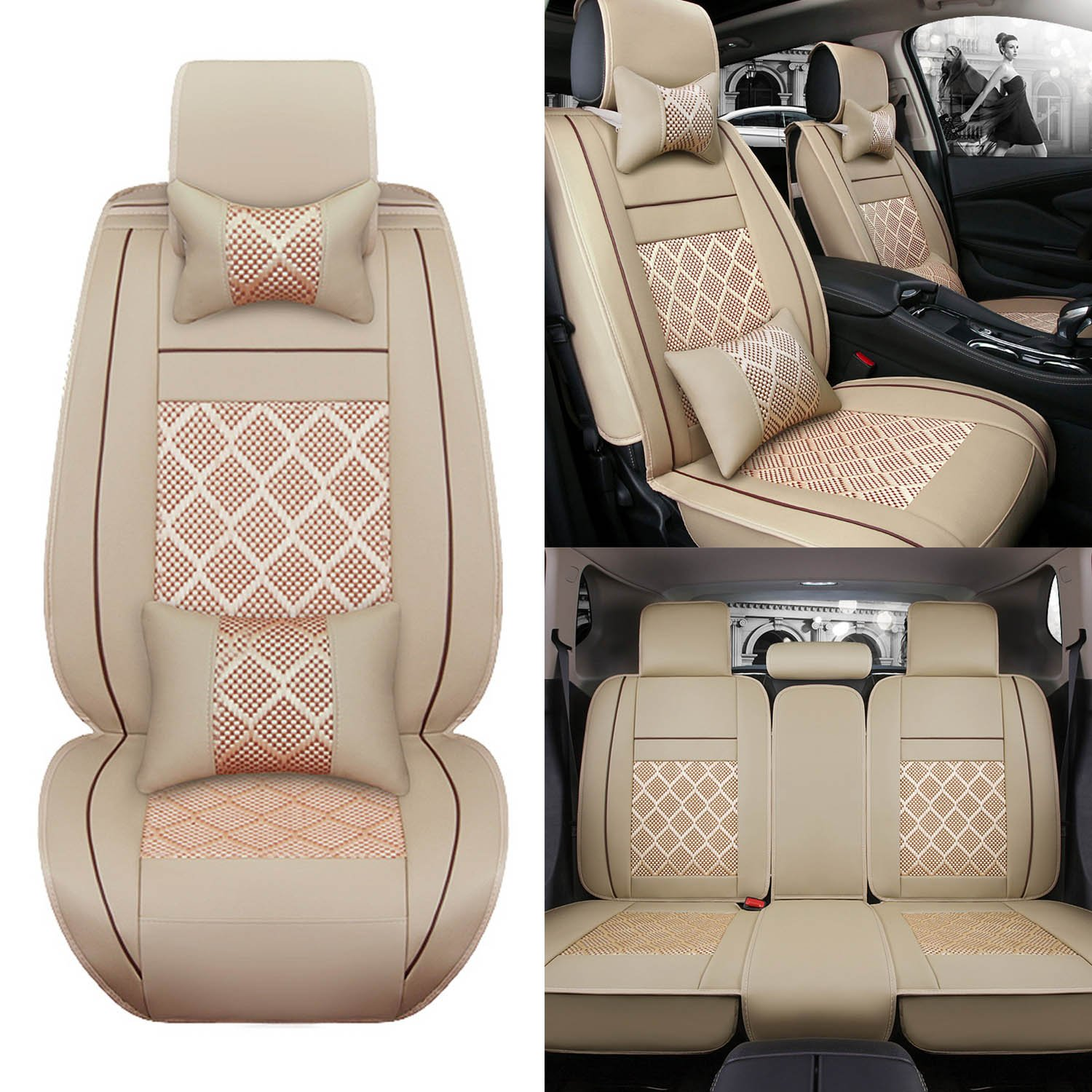 AUTOPDR 11Pcs Universal Full Surrounded Car Front& Rear Seat Covers Auto 5 Seats Cover Set Car Interior Accessories Seat Cushions for All Seasons(Beige)