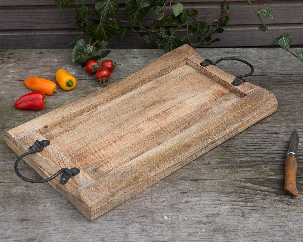 Fleischplatte mit Metallgriff Rustikales Servierbrett Tablett aus Massivholz