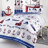 Parure de lit réversible Blanc et Bleu Bateau