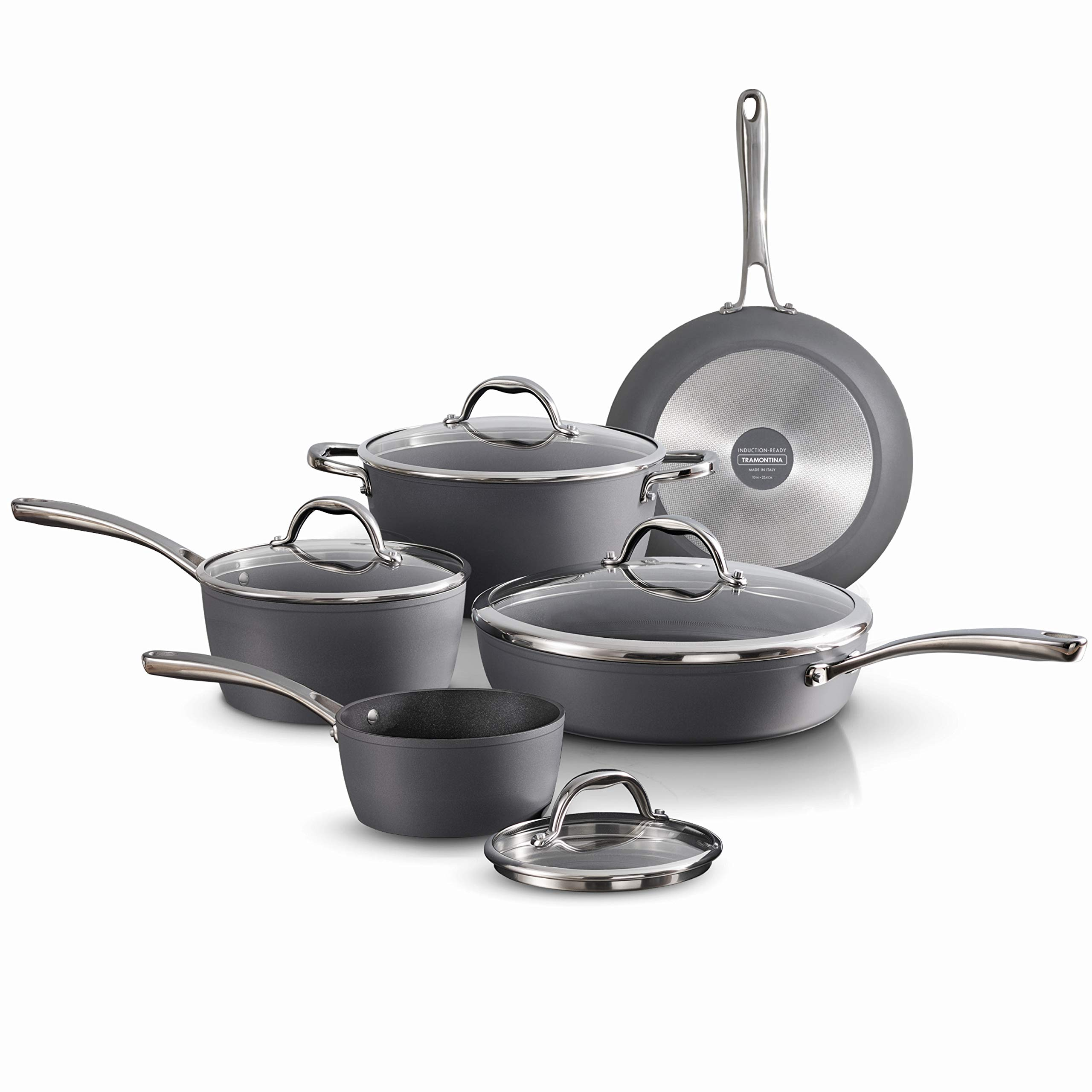 Tramontina 80110/225DS Gourmet Induction Aluminum Nonstick Made in Italy, Slate Gray 9-Piece Cookware Set,