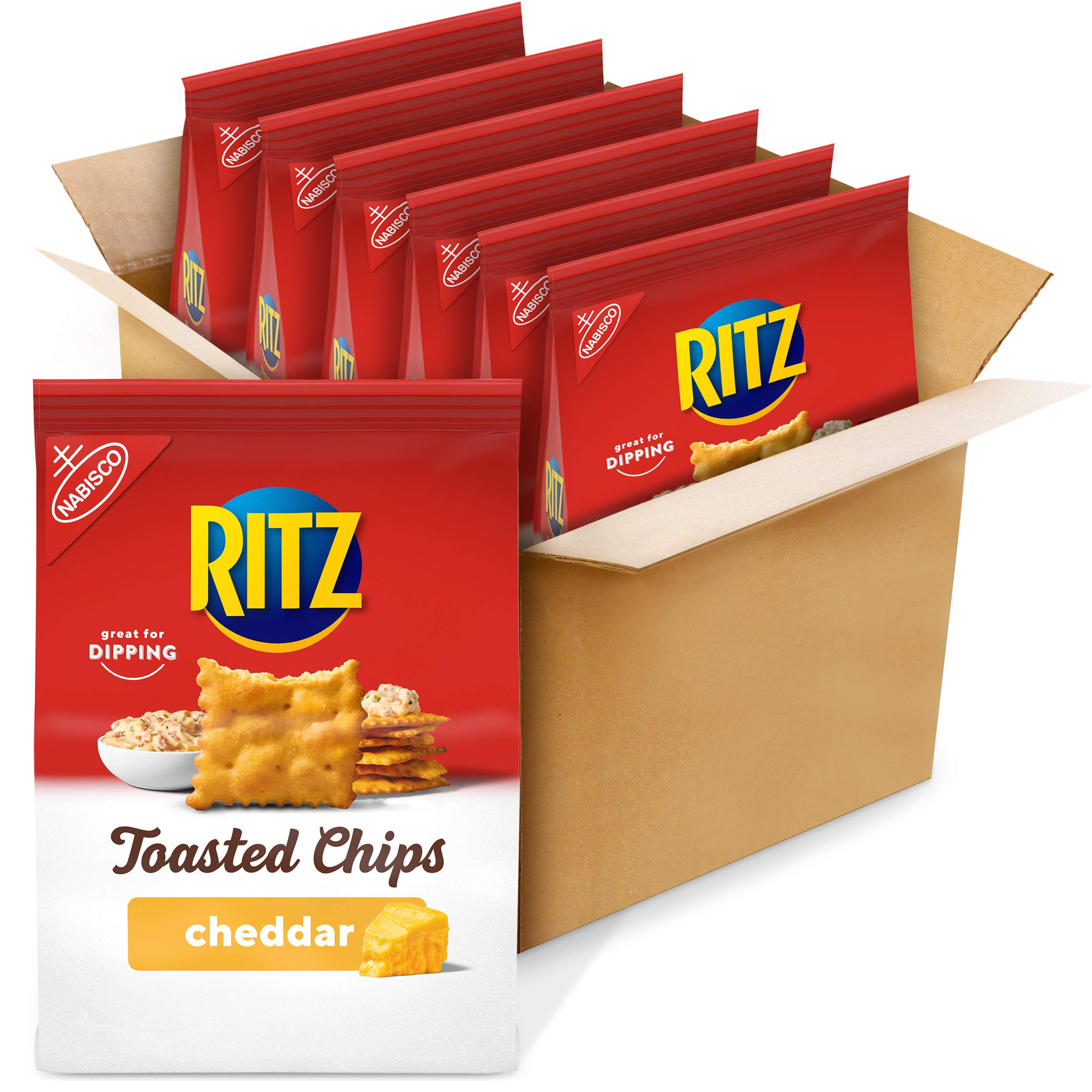 Ritz Toasted Chips, Cheddar, 8.1 Oz (Pack of 6)
