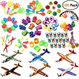 iBaseToy 100PCS Party Favors Toy Assortment for Kids, Birthday Party, Carnival Prizes, School Classroom Rewards, Pinata Fillers, Party Toys, Goodie Bag Fillers, Treasure Box with Glider Planes, Medal