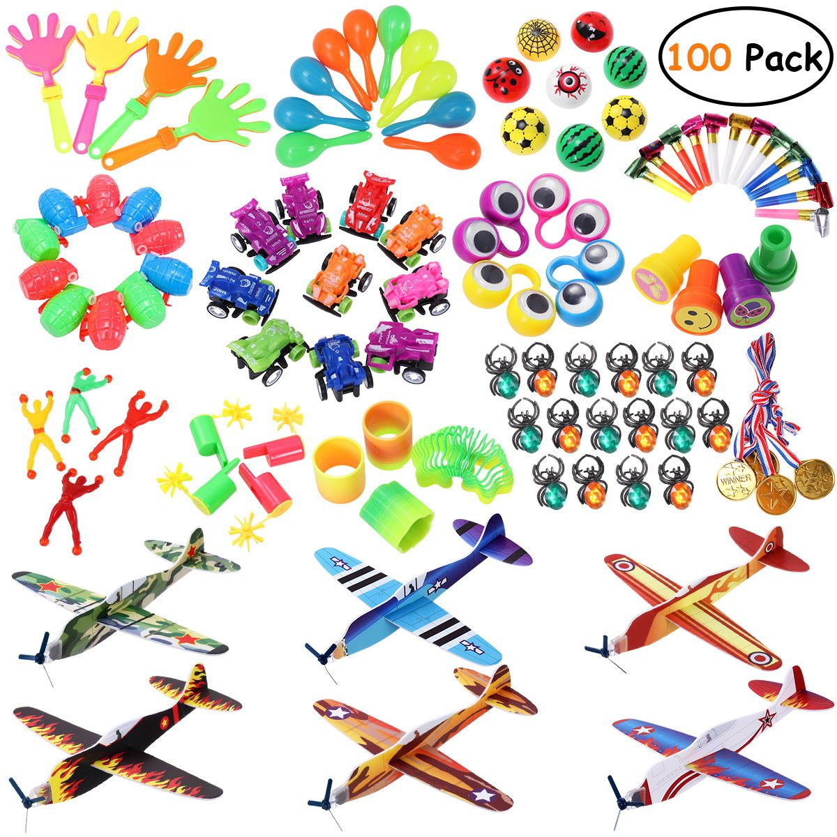 iBaseToy Party Prizes, 100PCS Party Favors Toy Assortment for Kids Birthday Party, Carnival Prizes, School Classroom Rewards, Pinata Fillers, Party Toys with Glider Planes, Medals, Party Noise Maker
